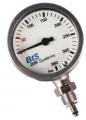 Manometer Kapsel 63mm BtS Dir Systems 0-360 Bar, Mineralglas, Nickel verchromtes Gehäuse